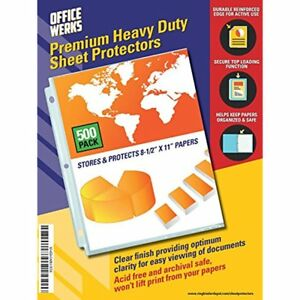 Heavy Duty Clear Sheet Protectors 500 Pack Refinforced Holes 8 5 X 11 Acid