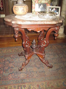 Antique Table Victorian Walnut Scalloped Marble Top Table