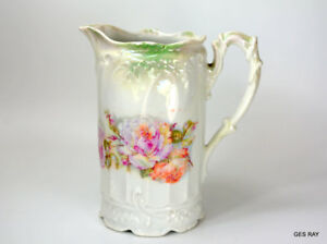 Antique Porcelain Unmarked Luster Ware Pink Roses Pitcher