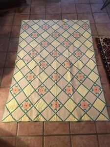 Antique Appliqu Flower Quilt Fantastic Fine Quilting Allover Hand Made Stitched