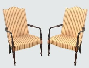 Pair Of Fine Quality Old Hickory Sheraton Antique Styled Lolling Chairs Clean