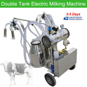 Double Tank Electric Milker Milking Machine For Farm Cattle Dairy Equipment 110v