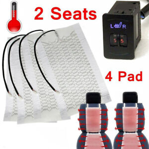 4x Car Seat Carbon Fiber Heated Seat Heater Pad Hi Lo Round Switch Kit Universal