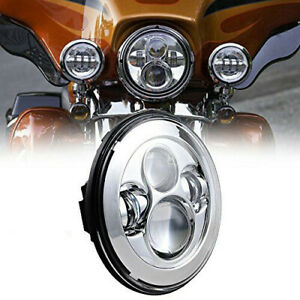 7 inch Led Projector Chrome Hi lo Headlight For Harley Street Glide Softail Flhx