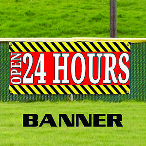 24 Hours Open Construction Road Traffic Vinyl Advertising Banner Sign