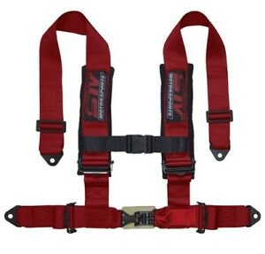 Stv Motorsports Safety Seat Belt Harness Red 4 point 2 Straps Latch And Link