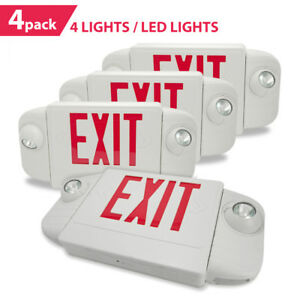 4 Pack Etoplighting 4 Lights Emergency Exit Sign Red Letters With Backup Battery