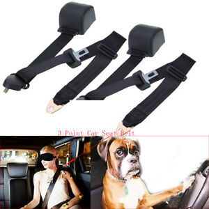 2 Set Safety 3 Point Retractable Car Seat Lap Belt Adjustable Kit Universal