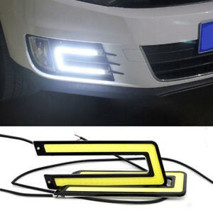White Car Cob Led U Shape Daytime Running Light Drl Headlight Fog Lamp Dc 12v