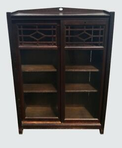 Antique Arts Crafts Mission Oak Sliding Double Glass Bookcase W Tenoned Post