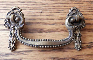 Set Of 10 Antique 3 Inch Centers Cast Brass Drawer Pulls