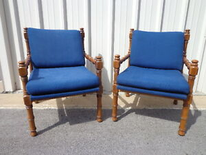 Pair Of Chairs Faux Bamboo Chinese Chippendale Accent Hollywood Regency Seating