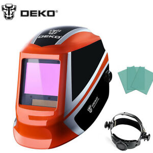 Orange Solar Auto Darkening Welding Helmet Arc Tig Mig Mask Grinding Welder