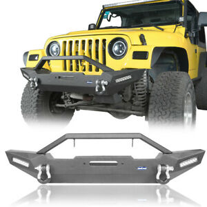 Front Bumper With Winch Plate Led Light For 1987 2006 Jeep Wrangler Yj Tj