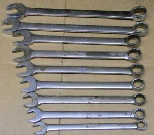 Snap on 9pc Sae 12pt Combination Wrench Set 3 8 Thru 7 8