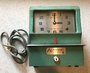 Acroprint Time Recorder Clock 125er3 no Key Tested Works Free Shipping