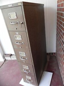 Vintage Remington Rand Safe File Cabinet 5 Drawer Fireproof F2 nd With Key Usa