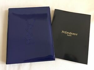 Ysl Blue Notebook Notepad Planner Pencil With Faux Leather Cover New