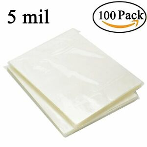 100 Pack Clear Letter Size Thermal Laminating Pouches 9 X 11 5 Inch Sheets 5 Mil