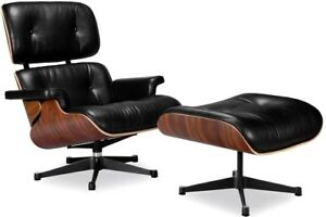 Mid Century Modern Classic Lounge Chair And Ottoman Real Leather Eames Replica