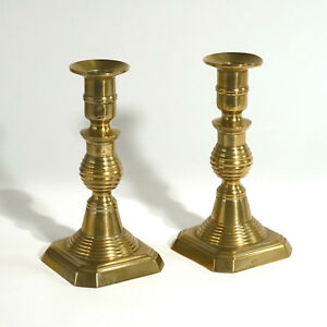 Signed R H Brass Beehive Push Up Square Base Candlestick Candle Holder