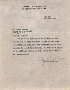 Douglas MacArthur 1945 Letter Signed Awards Asiatic Pacific Service Ribbon $500.00