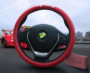 Bmw Car Auto Truck Leather Grip Steering Wheel Cover Wrap Protector Red 38cm