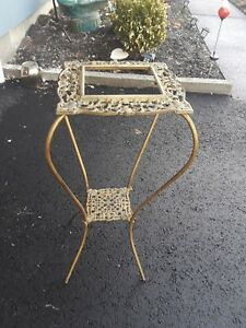 Antique Victorian Bras Gilt Filigree Cast Iron Plant Stand 2 Tier Table