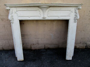 Antique Carved French Style Fireplace Mantel 60 X 50 Architectural Salvage