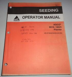 Agco White 8816 8824 Planter Operators Owners Manual s n Ht Later Original