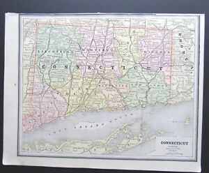 1887 Map Of Connecticut From Cram S Family Atlas