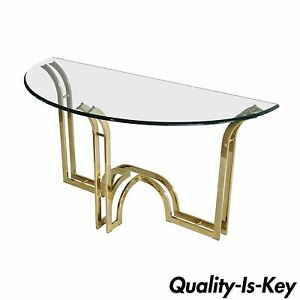 Vintage Hollywood Regency Sculptural Brass Glass Console Hall Sofa Table