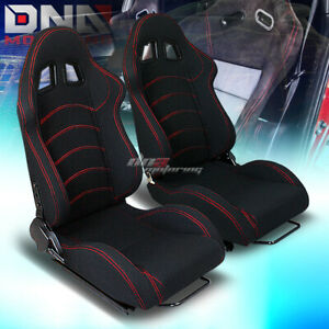 X2 Type F1 Style Black Cloth Fully Reclinable Bucket Racing Seats slider Rail