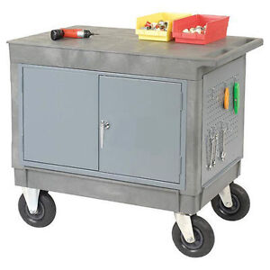 Work Station Mobile Portable Cart Locking Doors Flat Worktop 38h