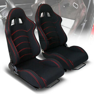 X2 Reclinable Red Stitch Black Canvas Type r Style Racing Bucket Seats sliders