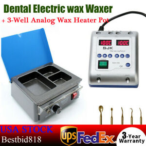 Dental Electric Wax Waxer Carving Knife Machine 3 well Analog Wax Heater Pot