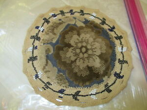 Antique Beadwork Pin Cushion Or Pillow Cover Cut Velvet