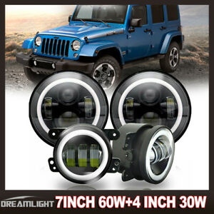 Cree 7 Halo Led Headlight 4 Fog Lights For Jeep Wrangler White Super Bright