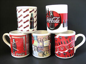 Vintage Coca Cola Mugs Collectible Lot of 5 Different Coke Cups Gibson 1997