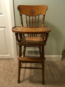 Victorian Antique Vintage Solid Oak High Chair Great Detailing Cane Seat