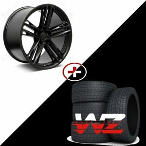 20 Satin Black Staggered Wheels Tires 2018 Zl1 1le Style Fits 2010 2015 Camaro