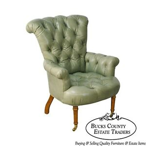 Regency Style Custom Quality Green Leather Tufted Library Wing Chair