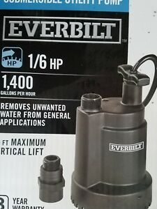 Everbilt 1 6 Hp Submersible Utility Pump 1400gallons Per Hour