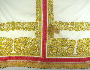 Rare 1900s Antique Slovak Embroidered Wedding Bed Cover Dowry Folk Bobbin Lace
