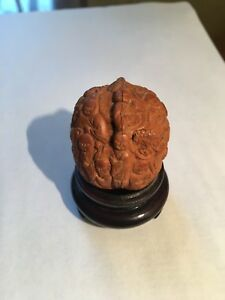 Antique Chuinese Hand Carved Walnut Shell Buddha Monks Koi Stand Quality
