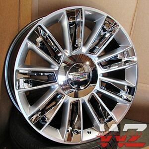 22 Platinum Style Silver Chrome Inserts Wheels Fits Cadillac Escalade Ext Chevy