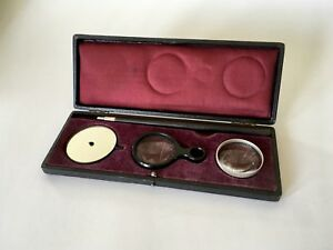Antique Medical 1800s Ophthalmoscope Case Instrument Set