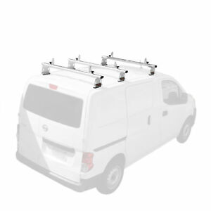 750lbs White Aluminum Van Ladder Roof Rack Cargo Fits Nissan Nv200 3 Cross Bars