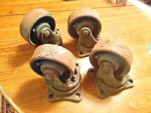 4 Antique Industrial Casters Cast Iron Steel Steampunk Heavy Duty Cart Wheels