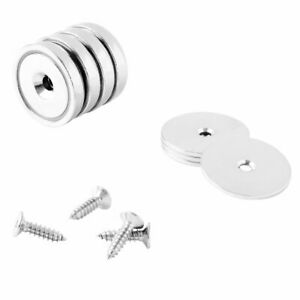 32mm Neodymium Rare Earth Countersunk Cup pot Mounting Magnets N42 4 Pack